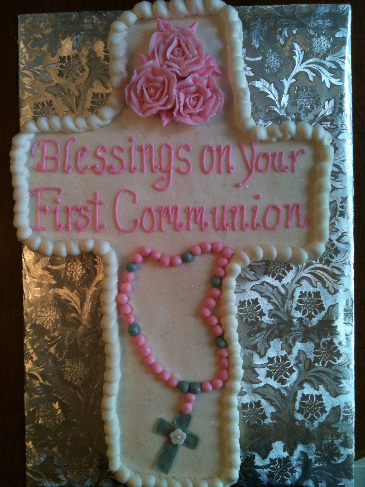 First Communion Rosary Cupcake Cake